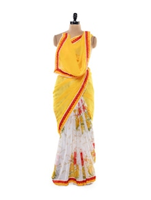 Lovely Yellow And White Saree - Get Style At Home