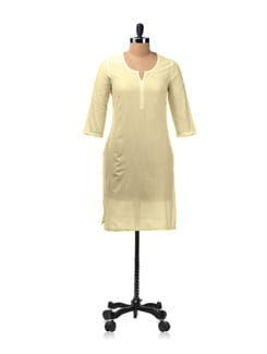 Cream Kurta With 3/4th Sleeves - Aurelia