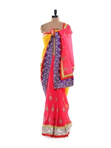 Colourful Chiffon And Zari Saree - Get Style At Home