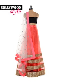 Coral and Black Lehenga