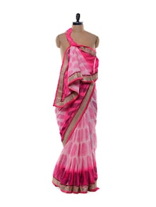 Printed Pink Chiffon Saree - Purple Oyster