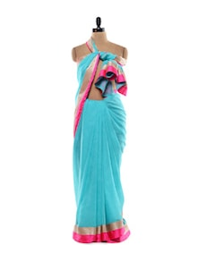 Turquoise Chiffon Saree With Zari And Satin Border - Purple Oyster