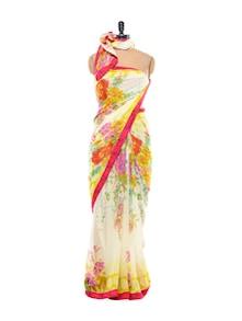 Bright Floral Chiffon Saree - Purple Oyster