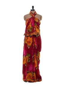Bold Rose Print Chiffon Saree - Purple Oyster