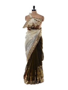 Two Tone Saree In Cotton Silk Blend - Purple Oyster