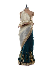 Cotton Silk Blend Saree In White And Teal Blue - Purple Oyster