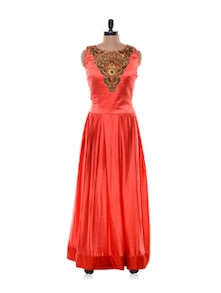 Katrina Plum Red Semi Stitched Gown - Purple Oyster