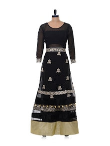 Black Chiffon Semi Stitched Lehenga Set - Purple Oyster