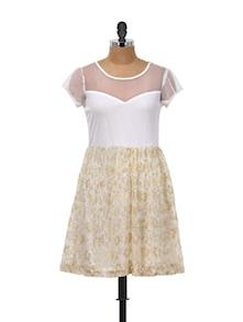 White Lace Skater Dress - @ 499