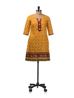 Yellow All Over Buti Kurta With 3/4th Sleeves - Aurelia