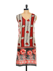 Red And Black Printed Kurti - @ 499