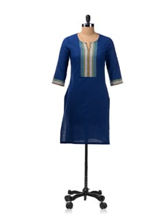 Blue Kurta With Contrasting Sleeve Cuffs And Neck Panel - Aurelia