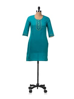 Blue Cotton Kurta With Woven Neck Panel - Aurelia