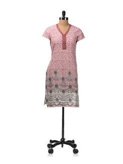 Grey And Red Printed Kurta - Aurelia