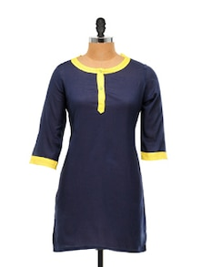 Navy Blue And Yellow Kurta - Free Living