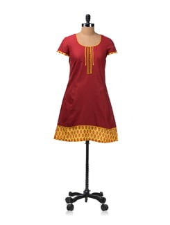 Red Kurta With Contrasting Hem - Aurelia