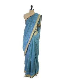 Blue Chikan Cotton Silk Saree - Spatika Sarees