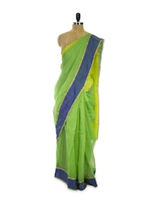 Bright Green Cotton Silk Saree - Spatika Sarees