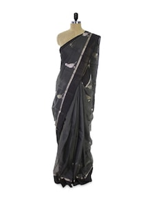 Bird Print Grey Cotton Silk Saree - Spatika Sarees
