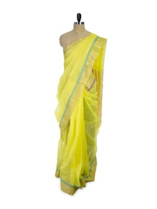 Lime Yellow Cotton Silk Saree - Spatika Sarees