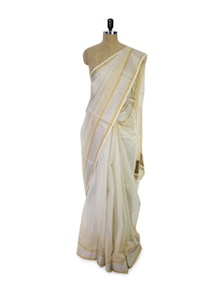 Cotton Silk Blend Cream Saree - Spatika Sarees