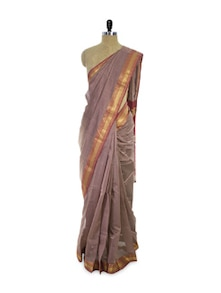 Grey Cotton Silk Saree - Spatika Sarees