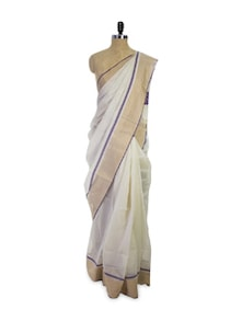 White Cotton Silk Saree - Spatika Sarees