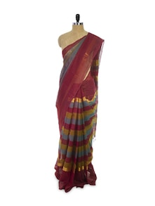 Striped Maroon Casual Saree - Spatika Sarees