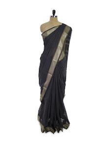 Bengal Cotton Silk Black Saree - Spatika Sarees