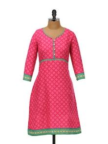 Patterned Pink Cotton Kurti - Ayaany