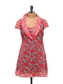 Floral Tunic Style Red Top - Ayaany