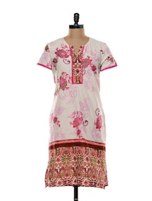 Printed Pink Cotton Kurti - Zara Deals