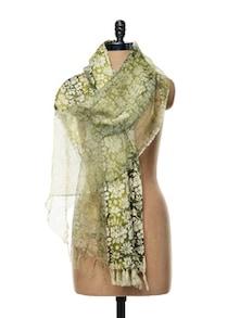 Floral Green Scarf In Silk-Wool Blend - WELKIN