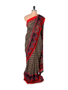 Printed Georgette Saree And Blouse Set - Fabdeal