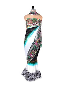 Printed Green And White Georgette Saree And Blouse Set - Fabdeal
