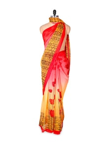 Red And Yellow Printed Faux Georgette Saree - Fabdeal