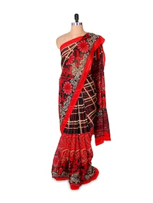 Red And Black Printed Faux Georgette Saree - Fabdeal