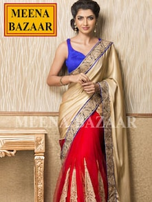 Exquisite Red And Gold Saree - Meena Bazaar