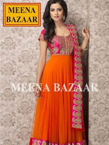 Vibrant Orange And Pink Unstitched Suit - Meena Bazaar