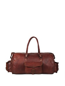 Leather Travel Cylindrical Duffel Bag - Rustic Town
