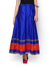 Raring Royal Blue Art Silk Skirt - NAVYOU