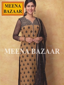 Breathtaking Beige And Black Unstitched Suit - Meena Bazaar