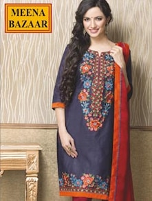 Blue And Orange Unstitched Floral Suit - Meena Bazaar