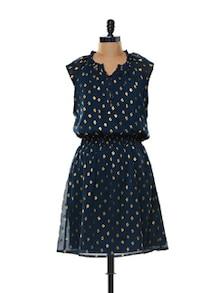 Cap Sleeved Blue Dress - Mishka
