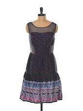 Sheer Neck Blue Printed Dress - Mishka