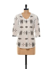 White And Black Printed Georgette Top - Mishka