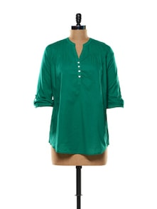Gorgeous Green Full Sleeves Cotton Top - Mishka