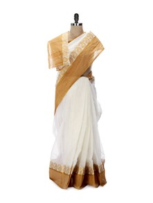 White And Orange Tant Cotton Bengal Handloom Saree - Aadrika Saree