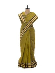 Mehendi Green Tant Cotton Bengal Handloom Saree - Aadrika Saree