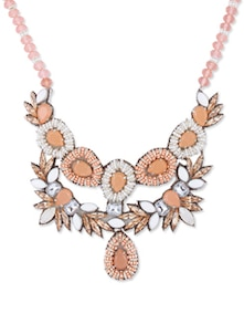 Peach Statement Necklace With Crystals And Seed Beads - Psquare